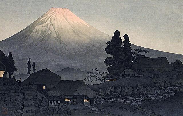 高橋松亭「水久保」(1941) Woodcut