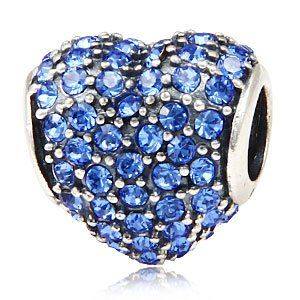 Everbling Heart with Paved Sapphire A...