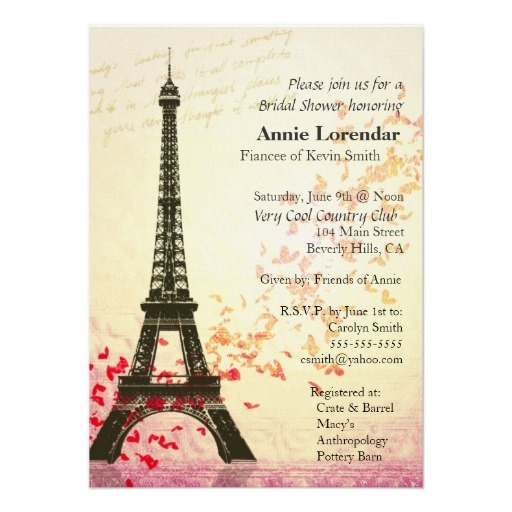 Paris Themed Wedding Invitation template