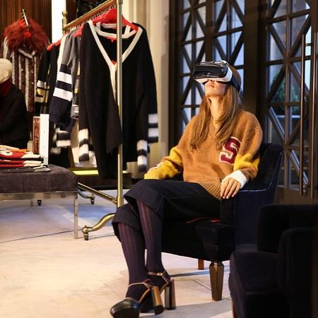 An awesome Virtual Reality pic! Tommy Hilfiger introduces virtual reality headsets to give shoppers a virtual trip to their fall fashion show in NYC. To capture the all-around image Hilfiger worked with WeMakeVR a start-up which used a special 3-D camera to capture an image with no blind spots. (Photo credit:Chang W Lee/The New York Times. #TommyHilfiger #VirtualReality #NYFW #WeMakeVR  #V-Commerce #Fashion by ruth_sherman check us out: http://bit.ly/1KyLetq