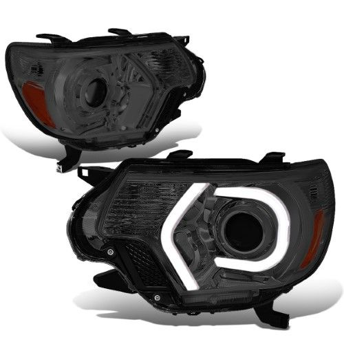 For 2012 2015 Toyota Tacoma Pair Smoked Housing Amber Side 3d Led Drl U Halo Ring Projector Headlight L Projector Headlights Toyota Tacoma 2015 Toyota Tacoma