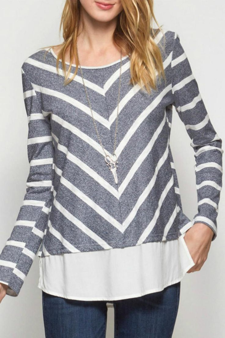 This heather blue & cream chevron top with back gold zipper detailing is perfect for fall! It is lightweight & soft. Wear it to your local farmers market or to a movie night with friends. Pair it with a neutral cami underneath.   Chevron Top by She + Sky (Ya Los Angeles). Clothing - Tops - Casual Clothing - Tops - Long Sleeve Kansas