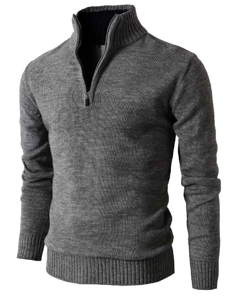 Mens Casual Cotton Pullover Sweater With Zipper Details On Neck (KMOSWL021) #doublju