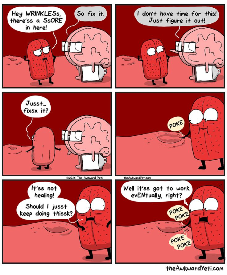 Brain puts Tongue in charge of fixing a sore - The Awkward Yeti comics