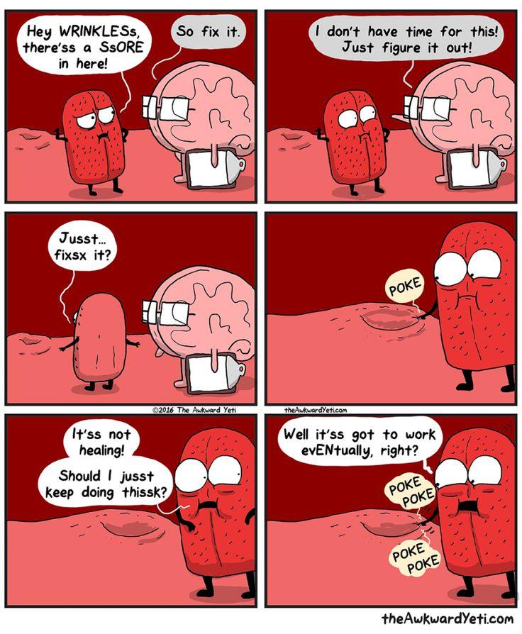 Brain puts Tongue in charge of fixing a sore - The Awkward Yeti comics