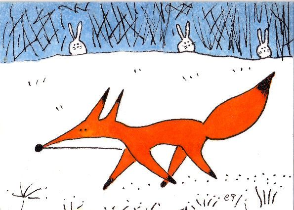 'a fox in the meadow' e9Art ACEO Rabbit Snow Winter Original Folk Art Miniature…