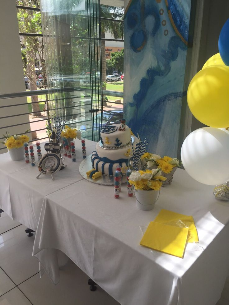 A nautical themed Baby Shower Cake Table. Designed and Styled by @RosesPearlsZa
