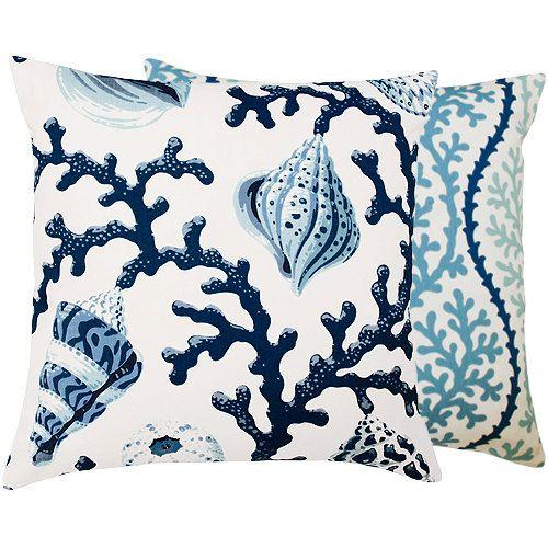 Blue Nautical Pillow Cover 20x20 Coastal Beach Shell Cottage Decor Decorative Sofa Living Room Vitamin Sea Collection Inspiration