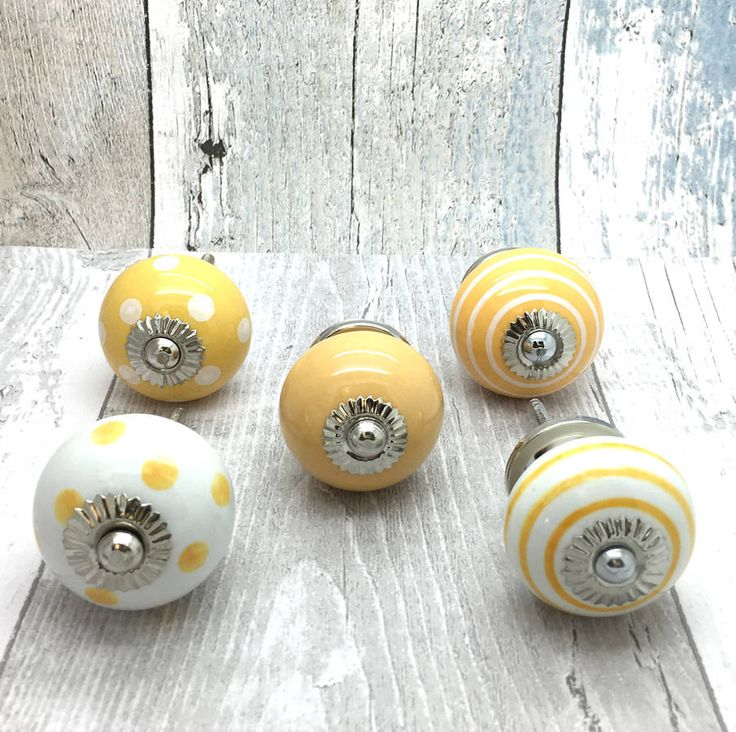 Yellow Ceramic Door Knobs Cupboard Drawer Pull Handles