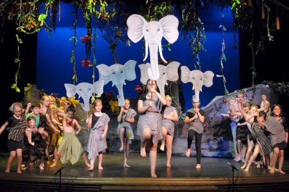 with elephants on a stick actors could march the heads up and down