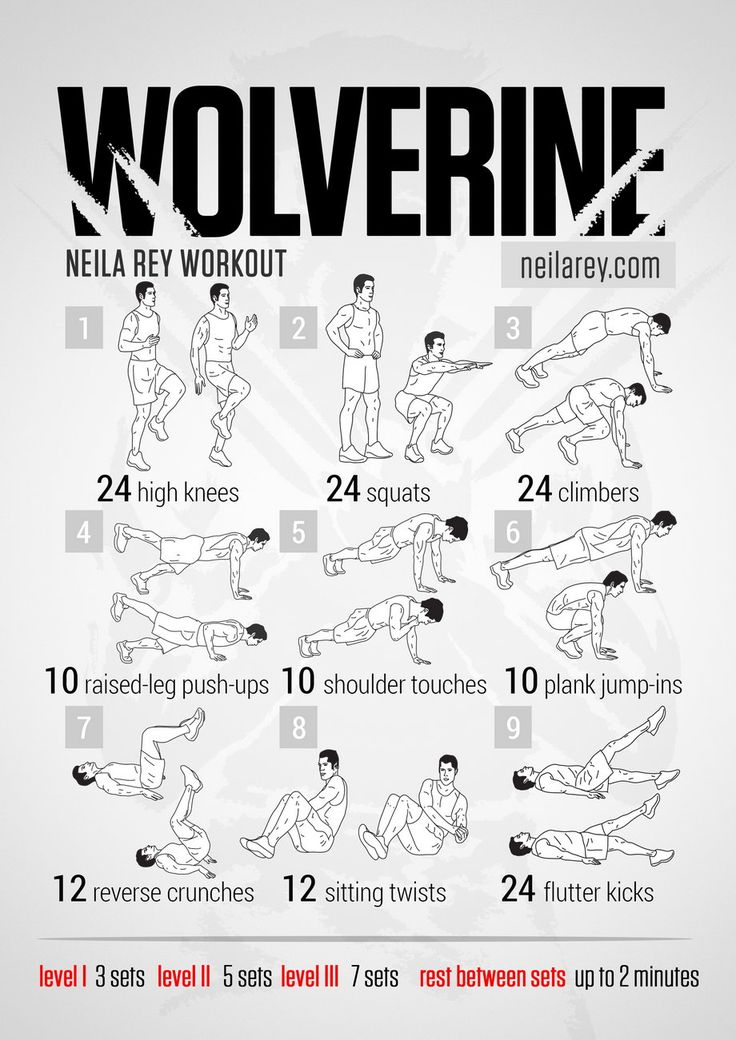 If you want to have a ripped body like Wolverine, you can do this workout at your home. You can do all these 9 exercises with your bodyweight.  Choose a level of difficulty from 1 to 3 and do this exercises for 3, 5 or 7 sets for each level. Neila Rey advices to rest between sets for 2 minutes.