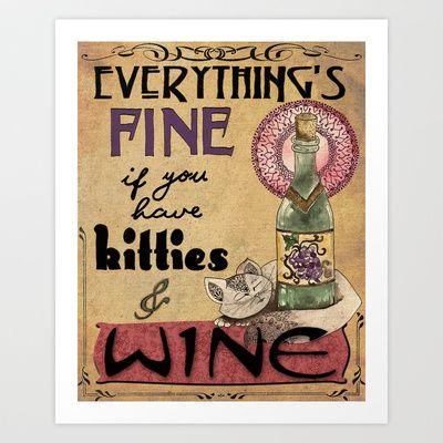 Kitties & Wine Art Print by Jenndalyn - $18.00
