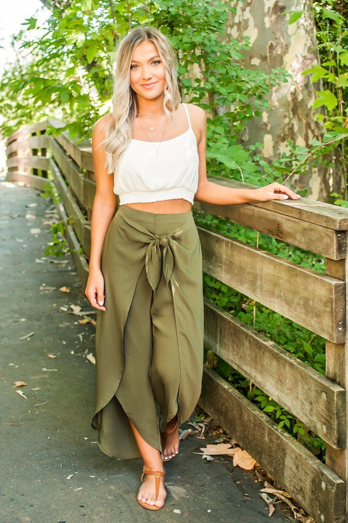94cb2bf2e378a Keep it cool and comfy this summer with our new Grassland Wrap Pants! These  olive green pants mimic a wrap maxi skirt with a loose and flowy style leg!