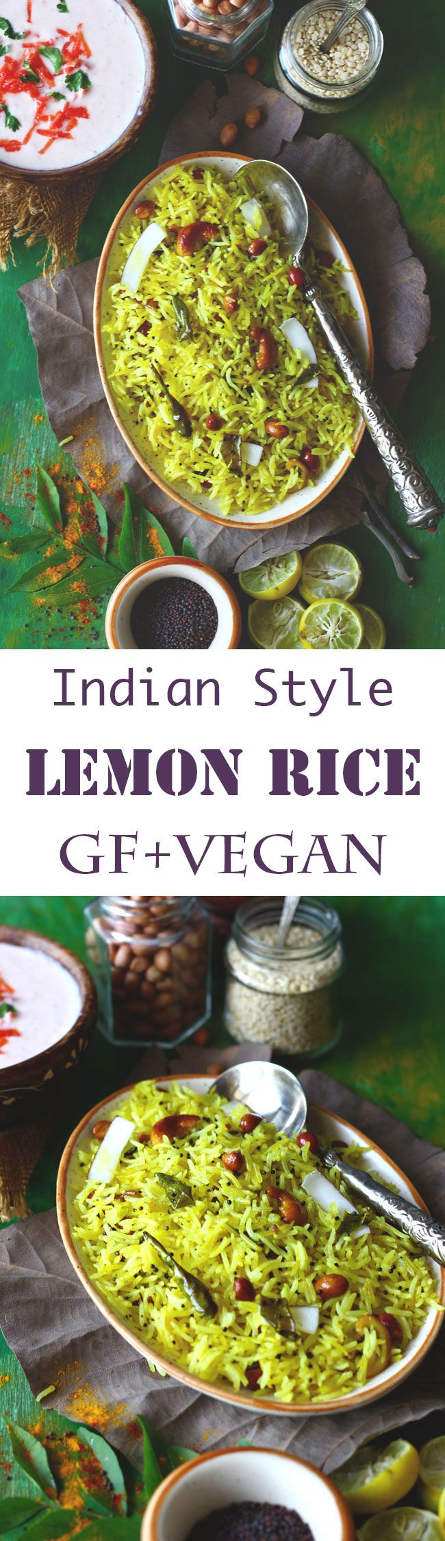 When we talk about one-pot rice meals, Indian style lemon rice is one of our favorite ones. funfoodfrolic.com #vegan #glutenfree #indianfood #rice
