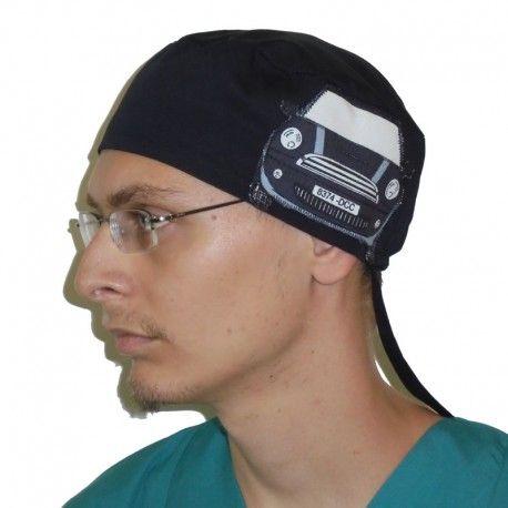 Handmade surgical scrub cap. Applique design of a black Mini car on one side!