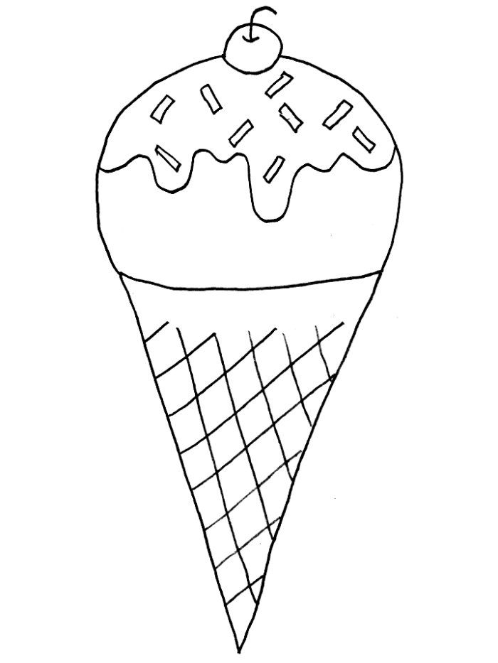 Coloring Pages of Ice Cream Cone With Cherry