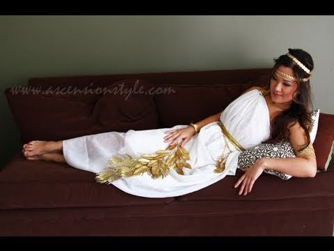 DIY Greek Goddess Costume Easy Tutorial How To Make - YouTube.