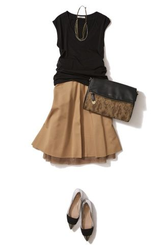 black top with tan skirt look