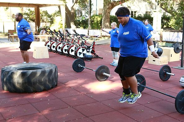 Jumping rope with the Blue Team. #BiggestLoser