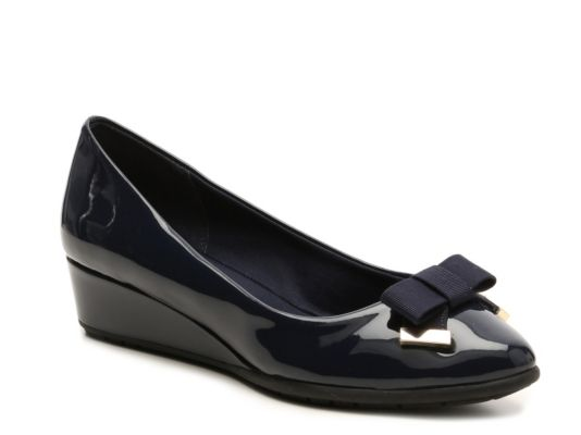 Women's Kelly & Katie Irena Wedge Pump - Navy Faux Patent Leather