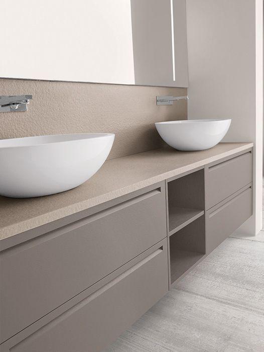 mueble para doble lavabo en apoyo sobre encimera