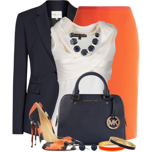 """Navy & Orange"" by brendariley-1 on Polyvore"