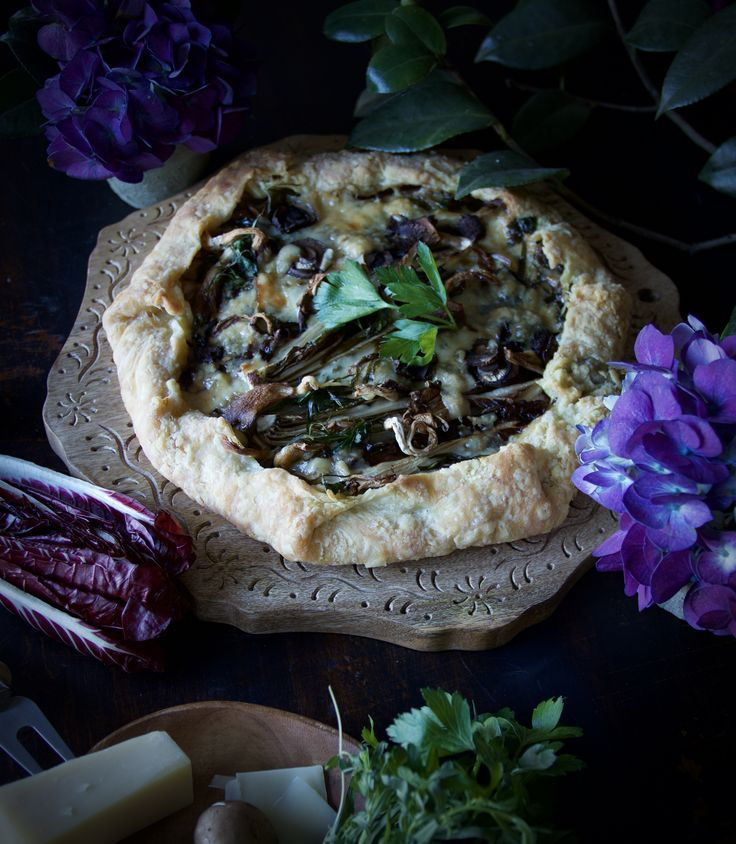 Savoury galette; oyster and cremini mushrooms, ham, with gruyere and Belgian Endive