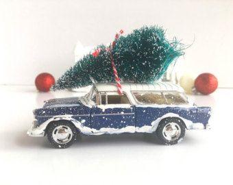 Chevy azul marino nómada - adornos de Navidad Retro - años 1950 Navidad decoraciones - autos - Idea de regalo para él - venta de viernes negro