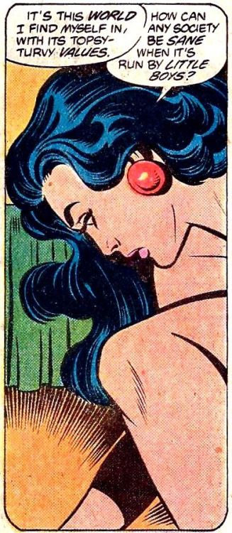 Gorgeously realized panel from an early 80's issue of Wonder Woman. Damn this world's topsy-turvy values!