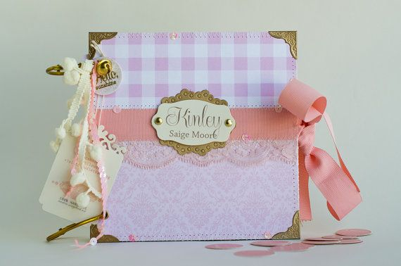 Pink And Gold Baby Scrapbook and Memory Album  by VioletCloudlet