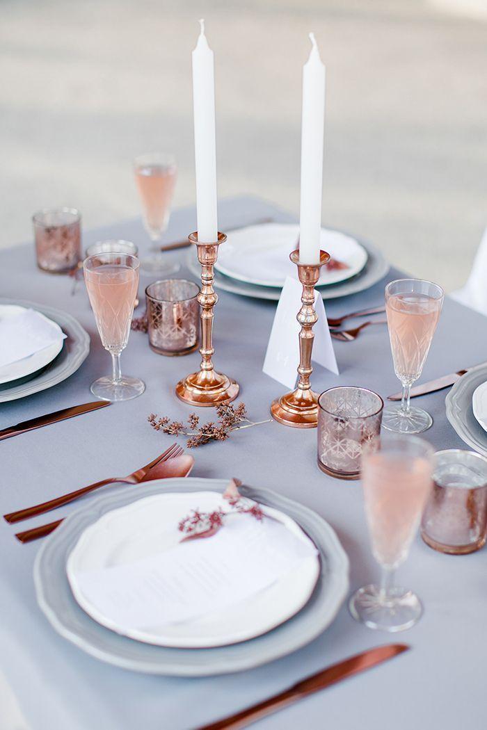 lilac grey, copper and rose quartz for a Pantone Spring 2016 wedding inspiration