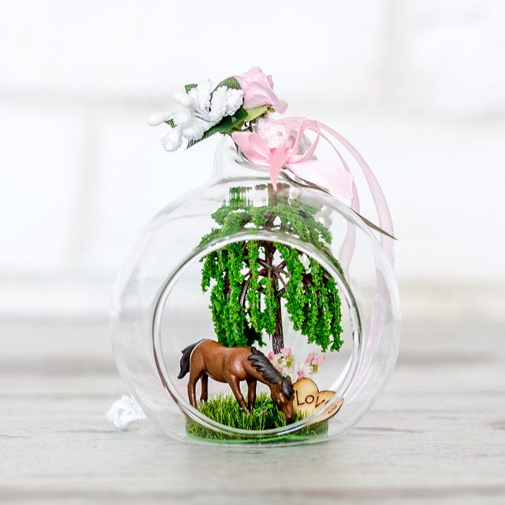 Spring Nature wild horse glass ball dollhouse miniature diorama, custom made glass ball, customized christmas ornament,home decor glass ball by ThePinkiestShop on Etsy