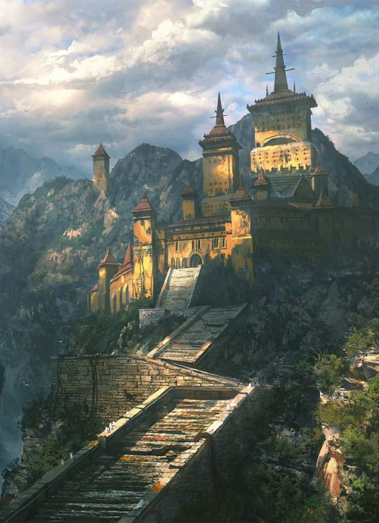 Monastery Hill Stairs Wizard Tower forest Fantasy Art Watch