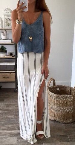 """Blues The Word"" knit top paired with a simple pinstripe maxi skirt 