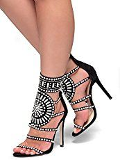 Women's Fashion Heels and Handbags: Herstyle Women's Fashion Crowd Stiletto Heel Jeweled Embellishment Dress Sandal Evening Party Shoes