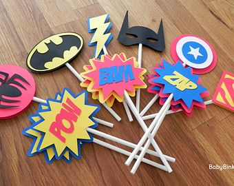 Die Cut Super Hero Logo Cupcake Toppers  superhero batman