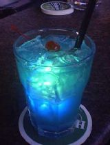 """Blue Raspberry Kamikaze""  1 oz. Vodka  1 oz. Blue Curacao  3/4 oz. Raspberry Liqueur  1 oz. Lime Juice (Rose's®)"