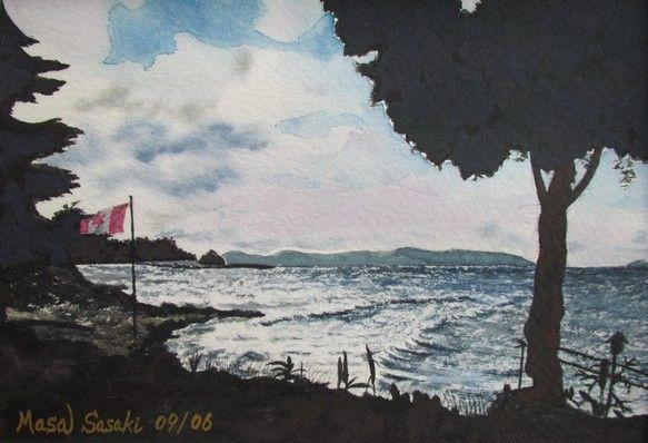 本作品は、カナダ•バンクーバー島のパークスビルという所に旅した際、風の強い黄昏時に眺めた海の景色です。強風で海は波立ち、カナダの国旗が激しくはためい...|ハンドメイド、手作り、手仕事品の通販・販売・購入ならCreema。