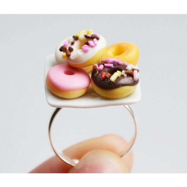 Doughnut Donut Ring, Miniature, Fimo, Polymer Clay ($9) ❤ liked on Polyvore featuring rings, jewelry and food jewelry