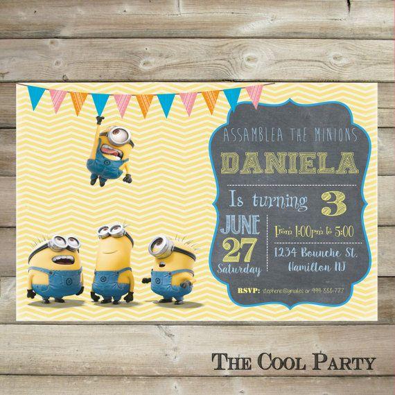 Minion birthday invitation,Minion invite, card ,Minion party printable,Minion Birthday Invitation, first birthday, 1st birthday invitation  This