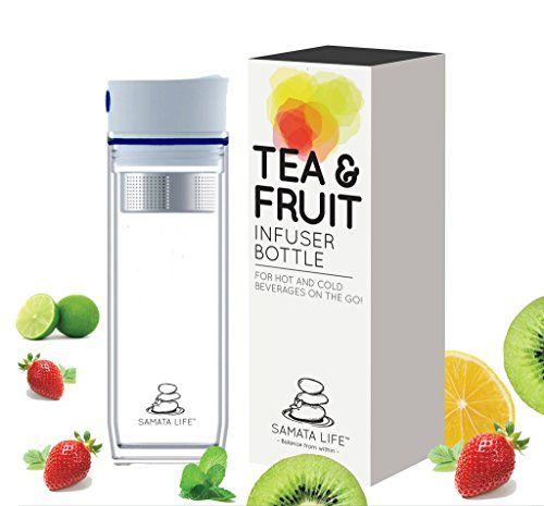 Samata Life Tea and Fruit Infuser Water Bottle Double-Walled Loose Tea Tumbler Travel Mug Eco-Friendly Food Grade Quality Plastic BPA-Free (White/Blue Lid)