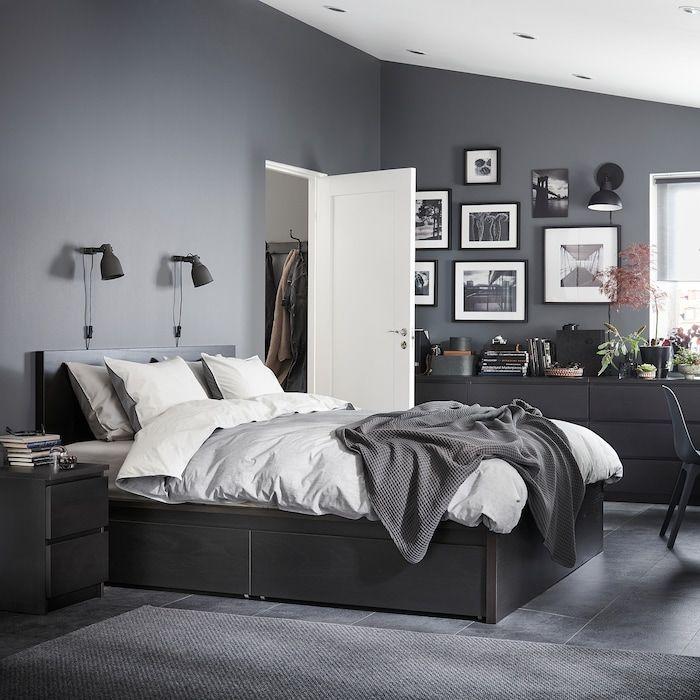 Malm Bedframe Hoog Met 4 Bedlades Zwartbruin Lonset 160x200 Cm