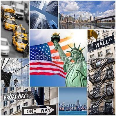 Fototapeta Nowy Jork, Panel szklany Nowy Jork, Fototapety Nowy Jork, Plexi Nowy Jork, nowy jork statua wolności flaga taksówki wieżowce znaki symbole, 49679308