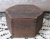 Antique Wooden Box with Lid  Dovetailed