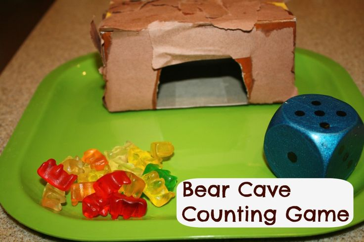 Bear Cave Counting Game from Fantastic Fun & Learning maybe use little bear figures instead of gummy bears