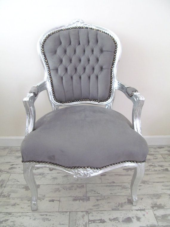 LYLA ROZE Grey French Shabby Chic Silver Louis Armchair Salon Bedroom Chair