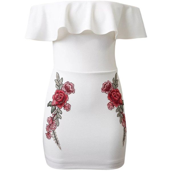White Off Shoulder Ruffle Embroidery Floral Patch Bodycon Dress (£30) ❤ liked on Polyvore featuring dresses, vestidos, bodycon dress, floral embroidered dress, white ruffle dress, floral dresses, white off the shoulder dress and embroidered dress