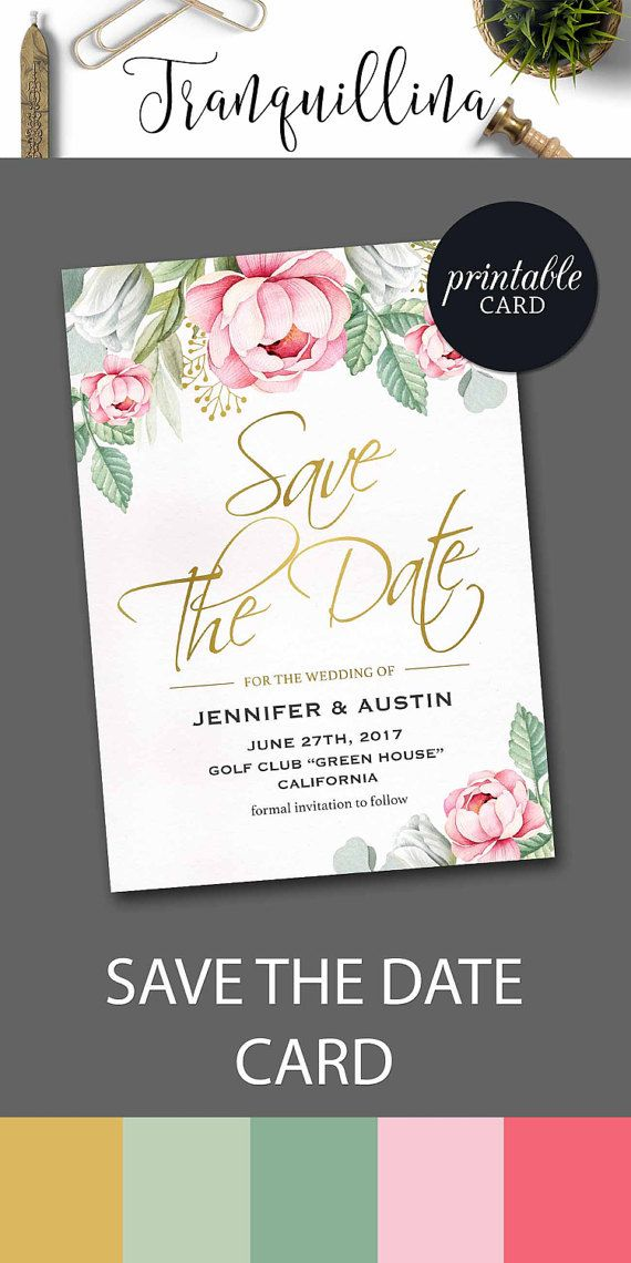 Floral Save the Date Printable Pink Save the Date Card, Printable Save the Date Card Greenery Save the date, Pink Gold Save the date Boho Wedding Trends DIY. tranquillina.etsy.com