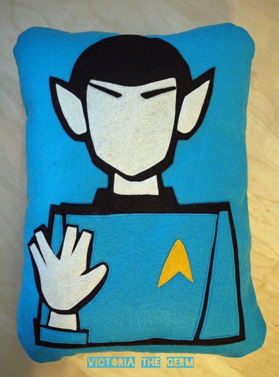 Star Trek Spock Felt Pillow by VictoriaTheGerm on Etsy, $50.00
