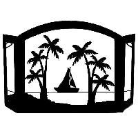 Sailing by Beach  Palm Trees Heavy Duty Wrought Iron Fireplace Screen - Functional Furnishings Fireplace Screens - Tools - PICK MY DECOR
